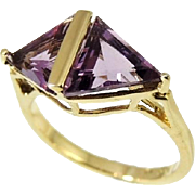 REDUCED Impressive Amethyst Trillion Ring 10k Gold 3.84 ctw DAZZLING