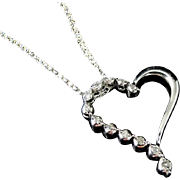 Diamond Floating Heart 10k White Gold .24 ctw Contemporary Vintage