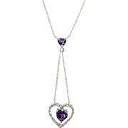 Amethyst Diamond Floating Heart Lariat Necklace 10k Gold