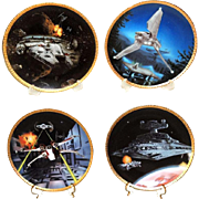 Star Wars Vehicles Hamilton Collection Plates Set of 4 COA Low Numbers