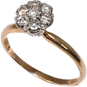 REDUCED Vintage Diamond Cluster Ring 14k Gold High Profile
