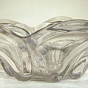 SALE RARE Flint EAPG  Pressed Loop Leaf  Bowl  Sandwich Glass  Gauffered Rim  1850-70