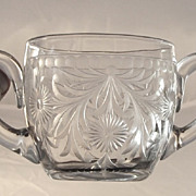 SALE Sinclaire  Cut Glass  Creamer and Sugar  Engraved  1920's