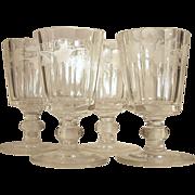 SALE c.1860  Set-4  HUBER Goblet  Wreath Leaves & Grape Pattern  CUT GLASS