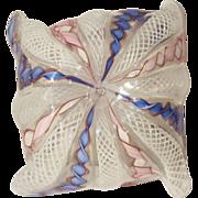 1930's  Murano Venini Latticino Mini Handkerchief Vase