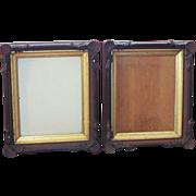 SALE Pair  SEASHELL TRIM  Shadow Box Frame  Walnut  Gilt