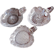 SALE 3 PIECES  Cut Glass Strawberry Diamond  Nappy  Sugar Shaker