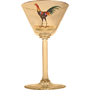 SOLD RARE c.1900  Dorflinger  Cocktail Glass  Rooster  Honesdale Co.  Cut Glass Crystal