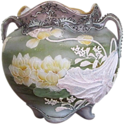 SALE Moriage Nippon Vase Urn 1885-1905  Marked  RARE COMPANY