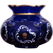 SALE Moser Bohemian Vase Blue Cobalt Cut to Clear  Enameling  Gold  c.19th century