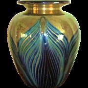 SOLD Feller Vase  Gold Iridescent  Blue Aureen Pulled Feathering  Stephen Fellerman