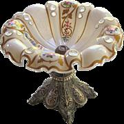 Moser Tazza Bohemian Compote Cased Glass  Silver Pedestal  c.1910