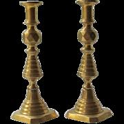 SALE Brass Candlesticks  Inverted Beehive  c.1883  Queen Victoria/Prince Albert