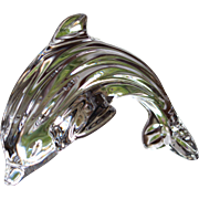 SOLD INCREDIBLE  Waterford Dolphin  Leaping  Signed Sculpture Paperweight