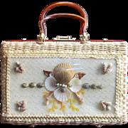 Vintage LUCITE Atlas Handbag Purse Wicker 1950's Princess Charmng