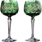 SOLD PAIR Vintage Bohemian Wine Glass Green Cut to Clear