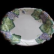 "Vintage Majolica Platter Embossed Raised Relief Italy 20""x15"""