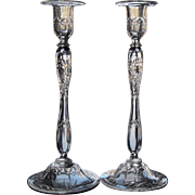 SALE MUSEUM QUALITY c.1910 Candlestick Engraved Hand Blown Candlesticks