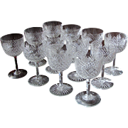 TWELVE 1890's Dorflinger Wine Stemware Strawberry Diamond