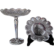 GROUP-TWO  Hawkes Compote  Plate  Strawberry Diamond Fan  Cut Glass  1890's