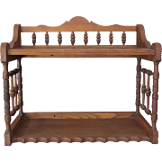 1800's Oak Wall Shelf COUNTRY KITCHEN ITEM New Hampshire Signed