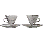 PAIR 1920's Engraved Cup and Saucer Gold Trim
