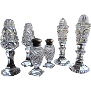 SOLD SET- 3 PAIRS  Salt and Pepper Shakers Cut Glass Crystal  c.1910