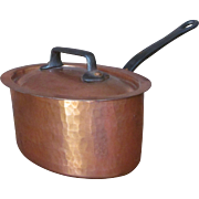 c.1900's Copper Pan Pot Made in France Bridge Company w/Cover