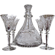 SALE ABP Cut Glass Decanter and Four Cordial Sherry DECANTER SET