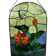 "SALE VINTAGE Stained Glass Window Panel 15"" x  11"" c.1960's"