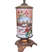 Very Rare SR Bowie Co. Mt. Washington Pairpoint Whale Oil Lamp 1870's Hand Painted ...