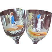 Victorian PAIR Moser Bohemian Hand Painted Enameled Goblet Wine Tumbler