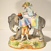 SALE c1910 Bisque Porcelain Elephant Group by Kister Germany