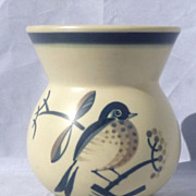 SALE Aluminia Faience Denmark Art Deco Vase Handpainted Bird
