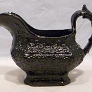 REDUCED Antique Jackfield Ornate Cream Pitcher
