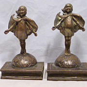 REDUCED TOP O' THE MORNING bookends by Laura Archibald for Pompeian Bronze