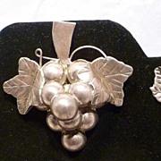 REDUCED 1940s Mexico Sterling Handmade Grape Motif Pin & Earrings Set