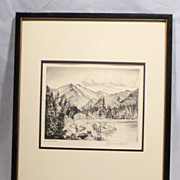 "REDUCED LYMAN BYXBE Listed Colorado Artist 1930s Etching pencil signed ""Bear Lake"""