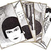 REDUCED Super Art Deco 5 Postcard Set by E. Bornand