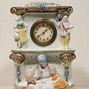 REDUCED German Porcelain Puss In Boots Fairy Tale Clock