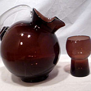 REDUCED 1950s Cambridge Modern Amethyst 9pc. Pitcher & Glasses