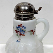 Alba Pattern Milk Glass Syrup Pitcher c1880s
