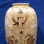 SALE Satsuma Moriage Vase with Buddha Meiji Period