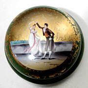 SALE Antique Hand Painted Porcelain Dresser Box w/ dancing Couple