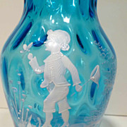 SALE Victorian Mary Gregory Glass Vase Boy Catching Butterflies