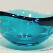 SALE Mid Century Orrefors Large Heavy Blue Biomorphic Bowl