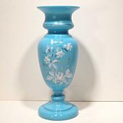 SALE Large Antique Decorated Blue Bristol Glass Vase
