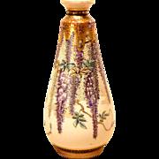 REDUCED Meiji Period Gyokuzan Satsuma Wisteria Cabinet Vase