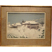 "REDUCED 1950s Japanese Woodblock Print ""Kiyomizu Temple Kyoto"" by Tokuriki"