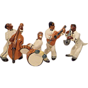 1940s West Coast Pottery 4 pc Art Deco Jazz Band
